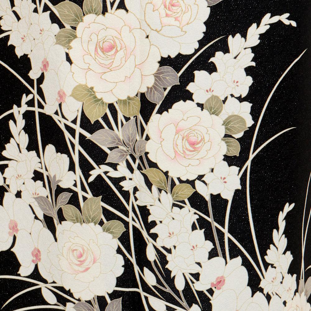 訪問着,かっこいい,黒,セシルマクビー,薔薇,胡蝶蘭,七五三,母親,着物,和装,和服